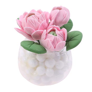 Mini Lotus Potted Plant Pink Flower Lotus Doll House Decor Children Baby Gift Furniture Toys 1:12 Dollhouse Miniature