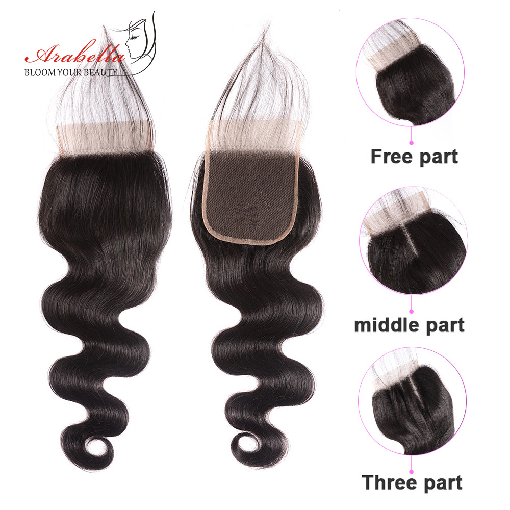 Super Double Drawn Body Wave Hair Bundles With Transparent Lace Closure 100%  3 Bundles Virgin Hair  Arabella 2
