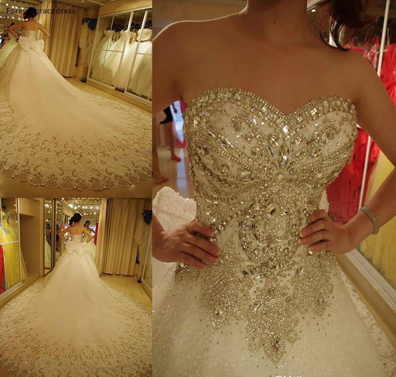 2019 Vintage Luxury Long Wedding Dress Sweetheart Rhinestone With Bow Bridal Gown Plus Size Custom Made