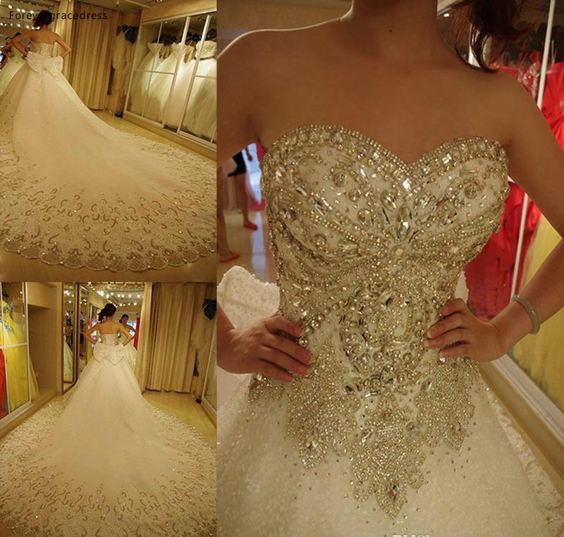 2019 Vintage Luxury Long Wedding Dress Sweetheart Rhinestone With Bow Bridal Gown Plus Size Custom Made