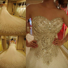 2019 vestido de novia largo de lujo Vintage con diamantes de imitación con lazo vestido de novia talla grande hecho a medida