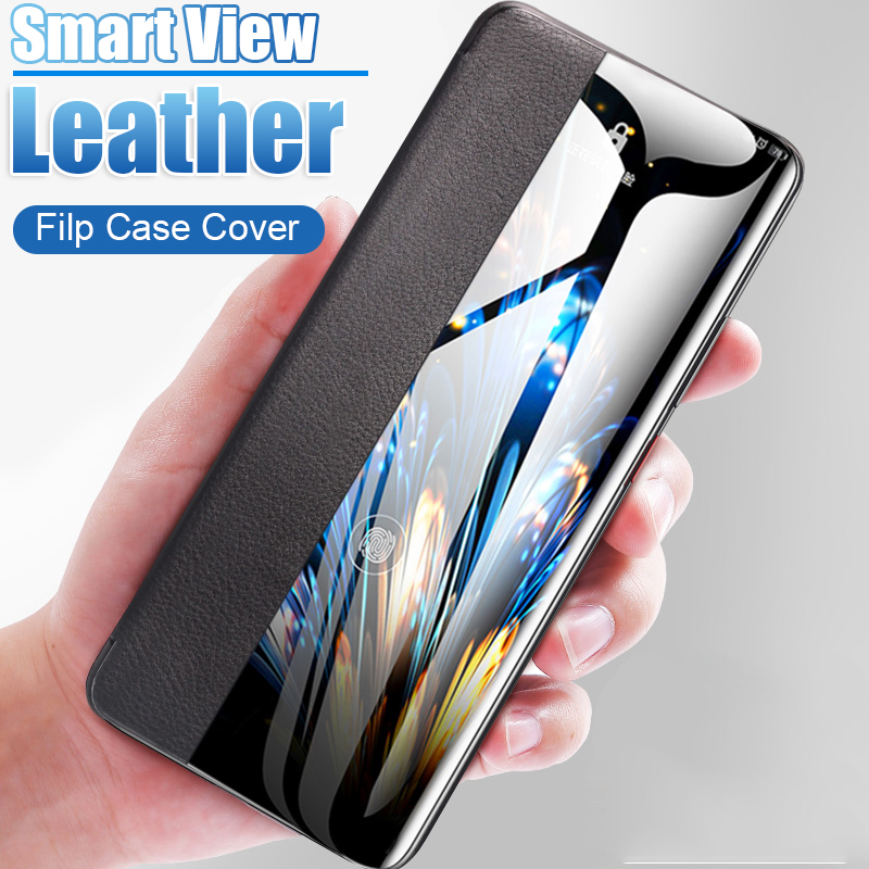 Smart View Flip Cover Leather Phone Case on For Huawei P30 lite Pro P20 P 30 20 P30pro P20pro 20pro 30pro Window Slim Funda Hard image