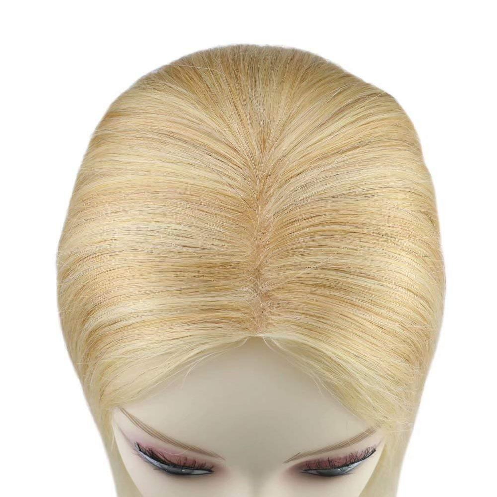 Moresoo Hair Toupee Clip In Machine Remy Hairpiece Wig For Women  Piano Color Blonde Hair Real Human Hair 5*5 Natural Straight