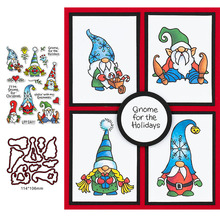 Holiday Gnomes Clear Stamps Coordinating dies for DIY Scrapbooking Craft Cards Transparent Stempels New  Silicone Seal 4 6inches animals clear stamps seal for diy scrapbooking album crafts decor cards transparent stempels silicone stamp 2019 new