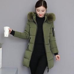 Grube podstawowe kurtka kobiety zimowe płaszcze bawełna Casual długa kurtka z kapturem damskie ciepłe zimowe znosić kobiety płaszcz Jaqueta Feminina 5