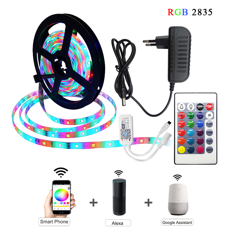 Led Strip Light 2835 SMD RGB Tape 5M 10M 15M 20M DC12V 3528 Flexible RGB LED Stripe Ribbon Diode Controller Adapter Set