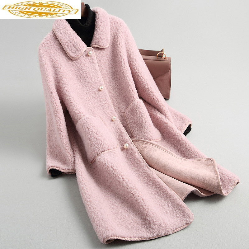 Real Women's Fur Coat Female 100% Wool Coats 2020 Autumn Winter Jacket Women Lamb Fur Korean Jackets Abrigo Mujer MY3516