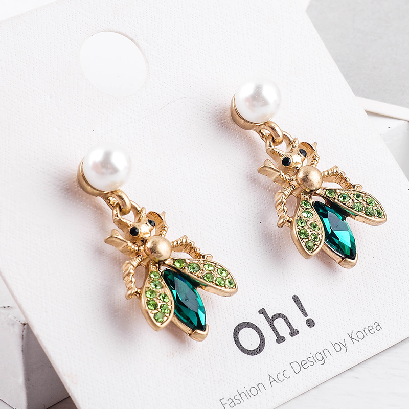 H34667dc43fc54c4883f0e3b77faf2173o - Bohemia Handmade Crystal 2 Color Insect Drop Earring For Women Wholesale Jewelry Free Shipping