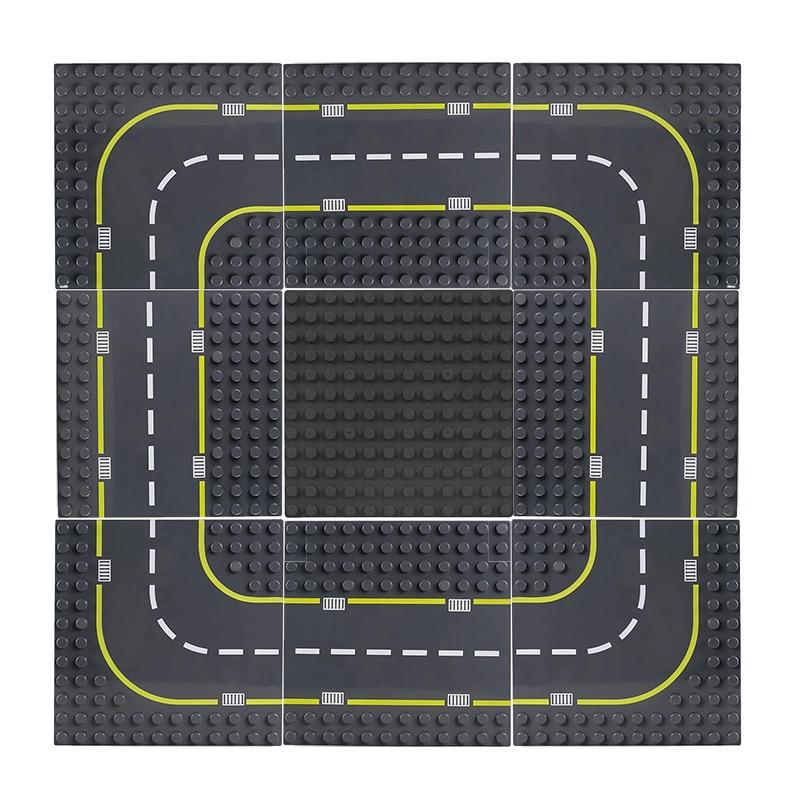 Duplo estrada baseplate 19*19cm cidade estrada rua combinação placa base curva reta diy blocos de construção grande partículas tijolos brinquedo do bebê