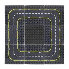 Estrada baseplate 19*19cm cidade estrada rua combinação placa base curva reta diy blocos de construção grande partículas tijolos brinquedo do bebê
