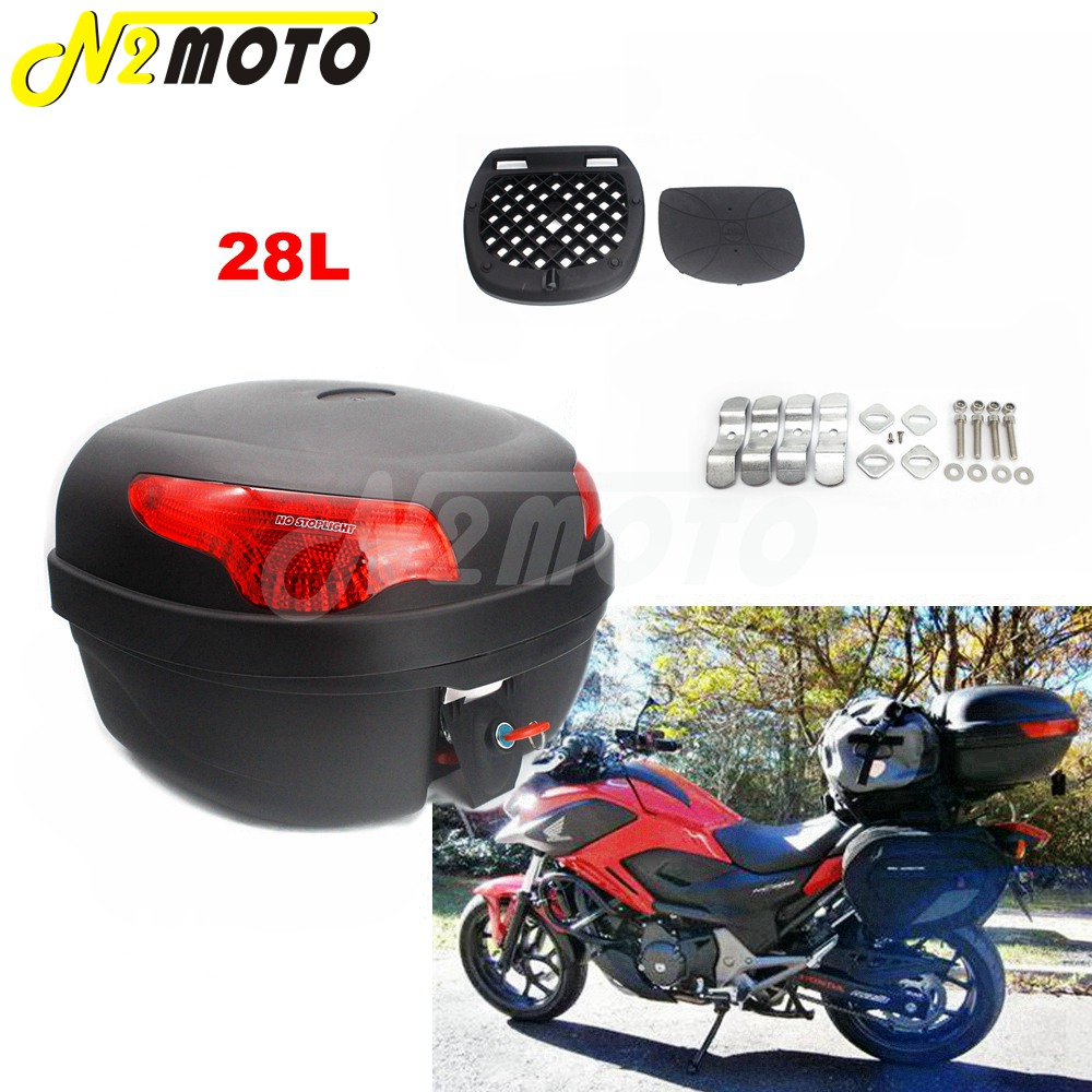 Tail Box Motorcycle Trunk Universal 28L Top Case Luggage Tail Boxes Trunk Toolbox Cargo For Triumph Yamaha Honda CBR NC 700 S/X