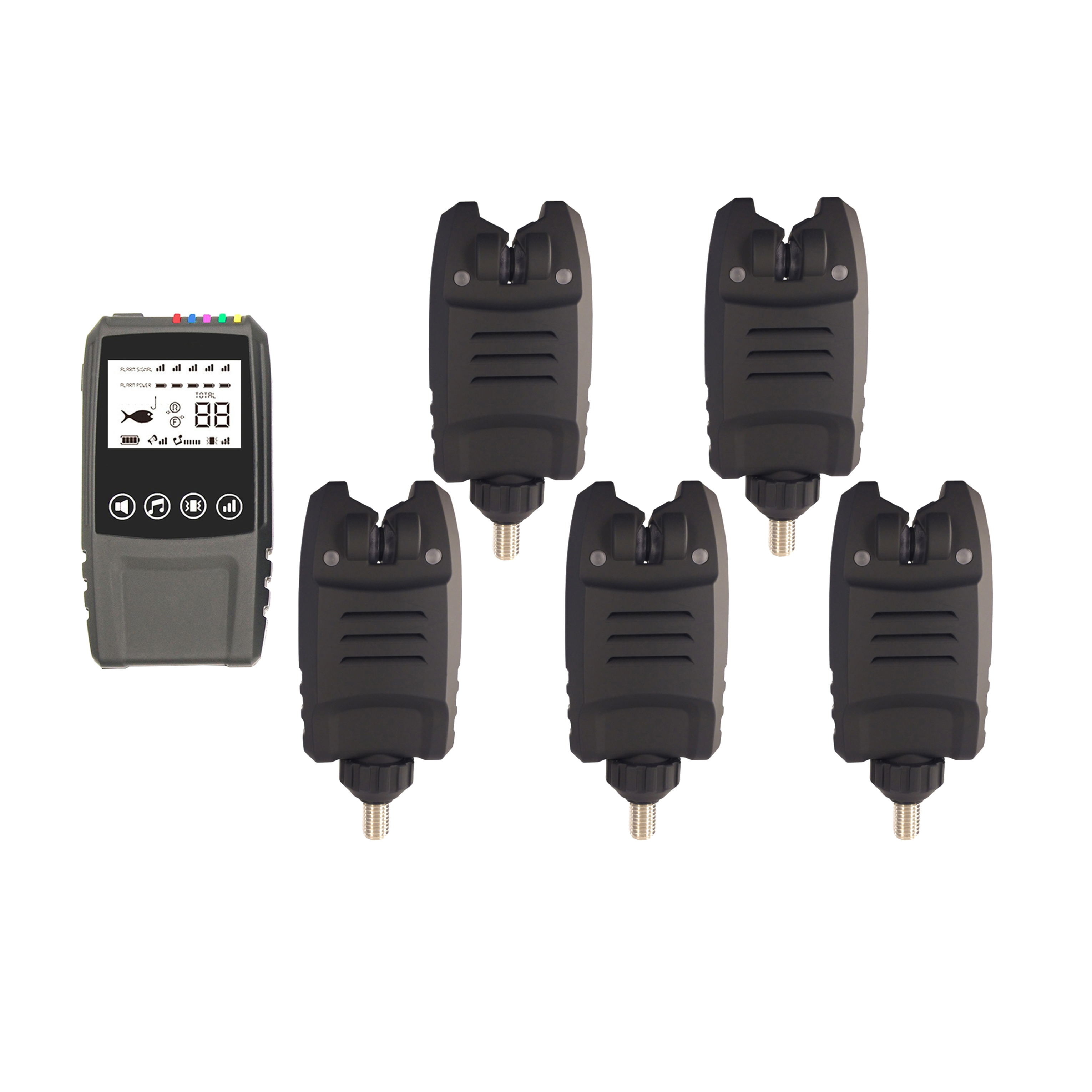 NDT Carp Fishing Wireless Digital Waterproof 2/3/4/5 Pcs Bite Alarm+1 Touch Shock Receiver With Display Screen In Case