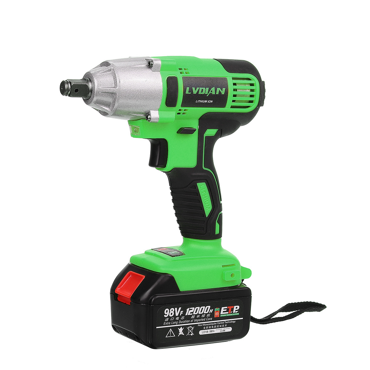 98VF 520Nm Cordless Electric Impact Wrench Powerful Drill Screwdriver Home DIY Electric Wrench Power Tool with 12000mah Battery