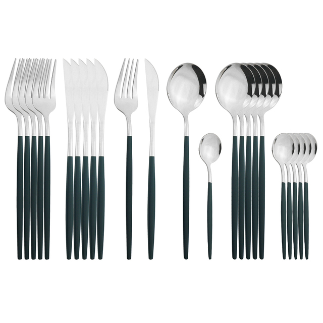 24Pcs Green Silver Cutlery Set Stainless Steel Dinnerware Set Knife Fork Coffee Spoon Tableware Set Kitchen Dinner Tableware Set 1