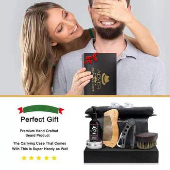 7 pcs/set Beard Care Modeling Tool Set Apron Bib Knife Brush Beard Care Suit And Shaping With Scissors As Gift 4