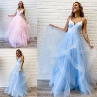2020 Prom Dress Ruffle Tulle Ball Gown vestido de festa Spaghetti Neck Celebrity Inspired Long vestidos de fiesta de noche