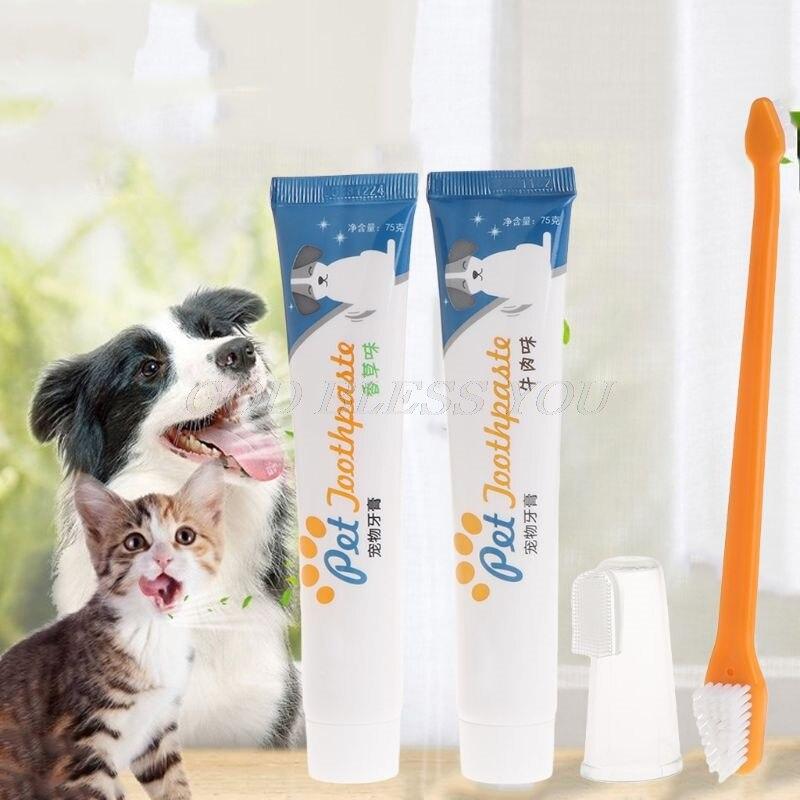 Juego de cepillos de dientes dentífrico para mascotas, higiene dental, juego de cuidado bucal, suministros de limpieza para cachorros y gatos, 3 uds.    - AliExpress