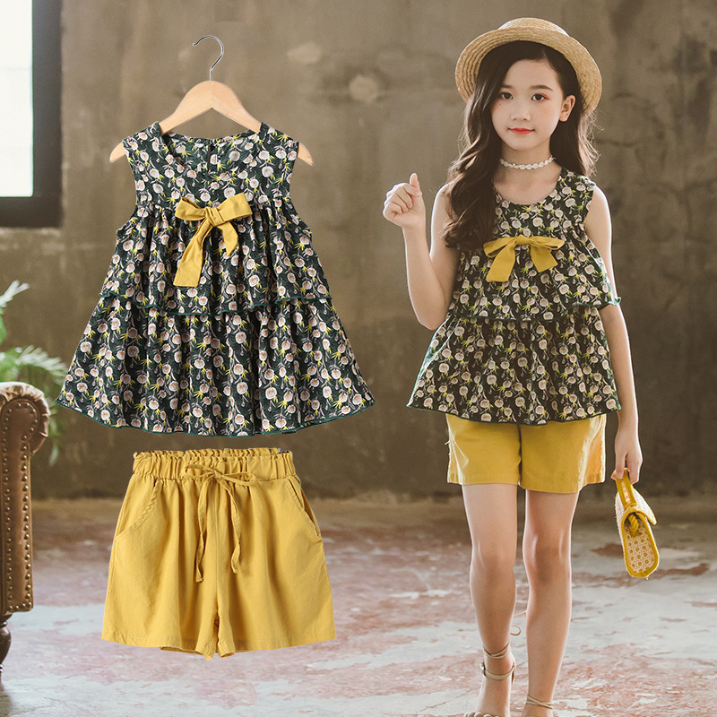 Clothes For Girls Sets Kids Fashion Chiffon Floral T-shirt + Shorts Two Piece Set Children Suit Girl Outfits <font><b>6</b></font> 8 <font><b>10</b></font> <font><b>12</b></font> 14 Years image