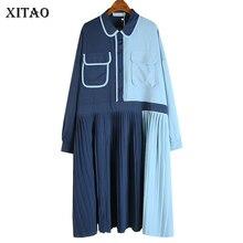 XITAO Patchwork Plus Size Dress Women Loose Fashion Casual E