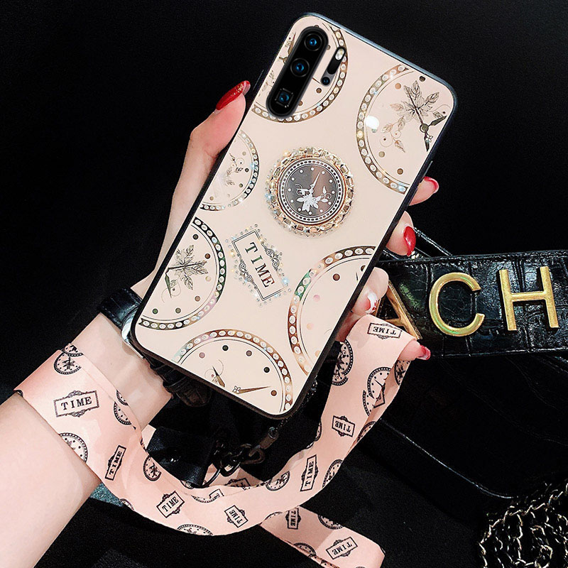 Clock <font><b>Diamond</b></font> Glitter Back Cover For <font><b>Huawei</b></font> P30 <font><b>P20</b></font> Lite P30 P40 Pro Nova 5T 6 SE Honor 30S Play 3 <font><b>Case</b></font> With Ring Stand Strap image