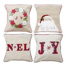Cute Cartoon Linen Christmas Santa Old Man Throw Pillow Case Cover 45x45cm Merry Christmas Decorative Pillowcases or16