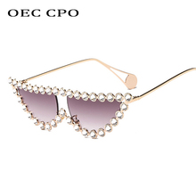 OEC CPO Luxury Rhinestone Metal Cat eye Sunglasses Women Gradient Lenses UV400 Retro Female Shades O211