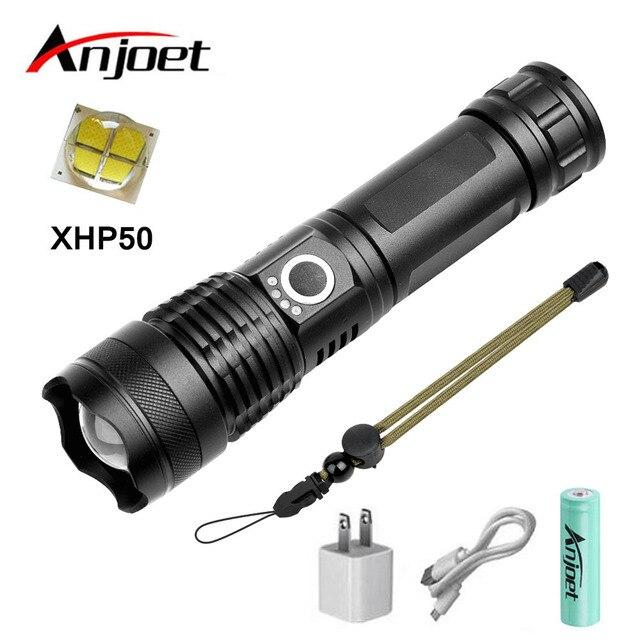 Anjoet xhp50 puissante lampe de poche tactique usb Zoomable lampe torche LED 18650 26650 batterie Rechargeable chasse en plein air