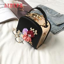 2021 Metal Clip Small Square Bag New Fashion Dinner Flower Shoulder Diagonal Handbag Bags  Shoulder Bags 822