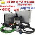 Mb Star C4 Диагностика SD Connect 2020,12 программного обеспечения мультиплексор с ноутбуком CF-19 toughbook WI-FI полный чип инструмент для диагностического ск...