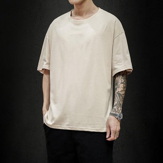 New Summer Men's T Shirt 2021 Fashion Solid T Shirt Mens Oversized Hip Hop Short Sleeve Casual Cotton Mens Streetwear Top Tees 2
