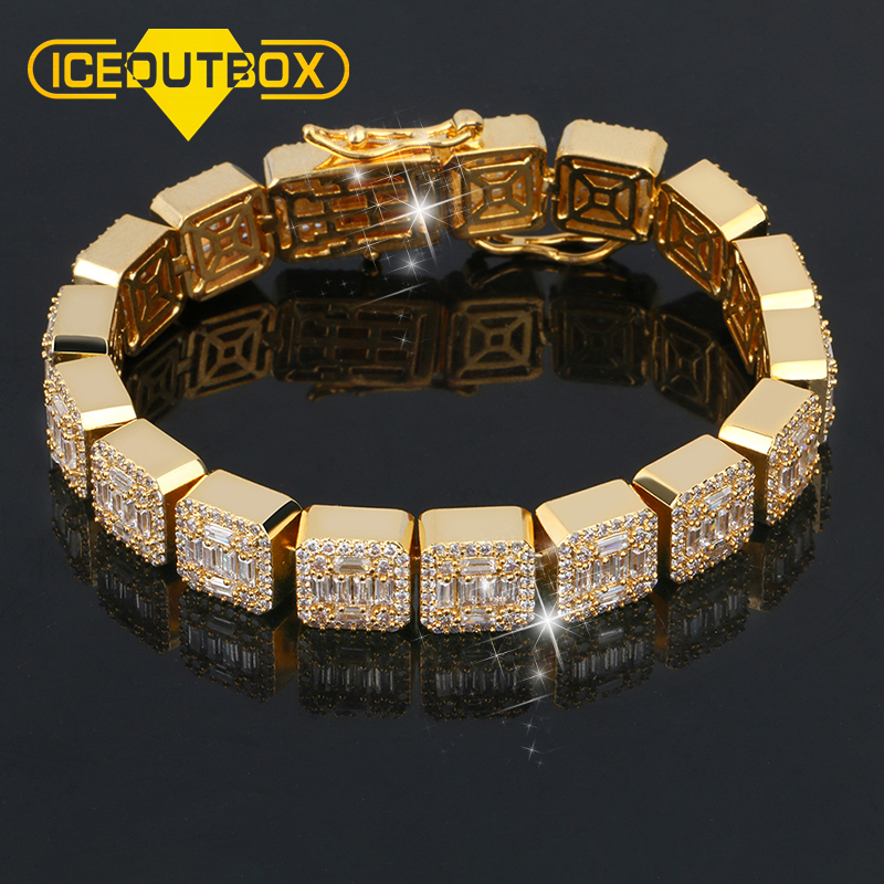 10mm Gold Color Zircon Stone Square Bracelet AAA CZ Stone Tennis Chain Bracelets For Men Hip Hop Fashion Jewelry With Gift Box