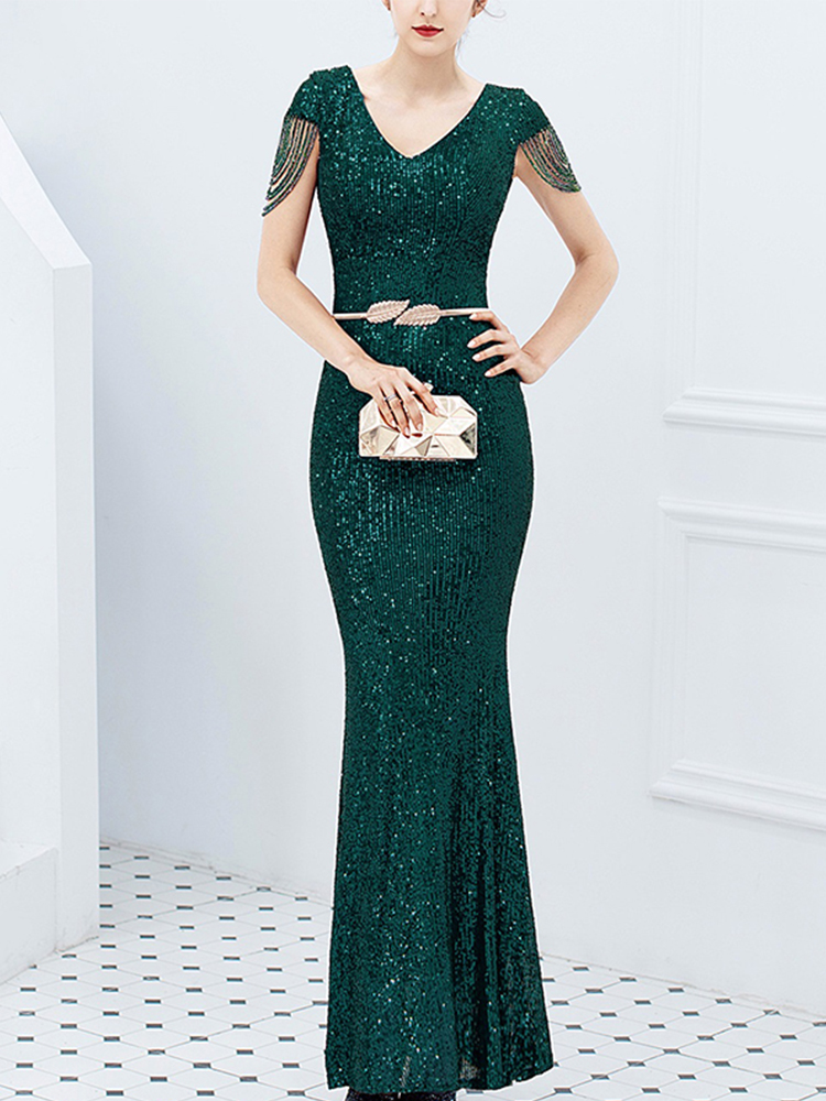 Robe Formal-Dresses Short-Sleeve Evening-Dress Party-Gowns Sequined Mermaid Elegant Women