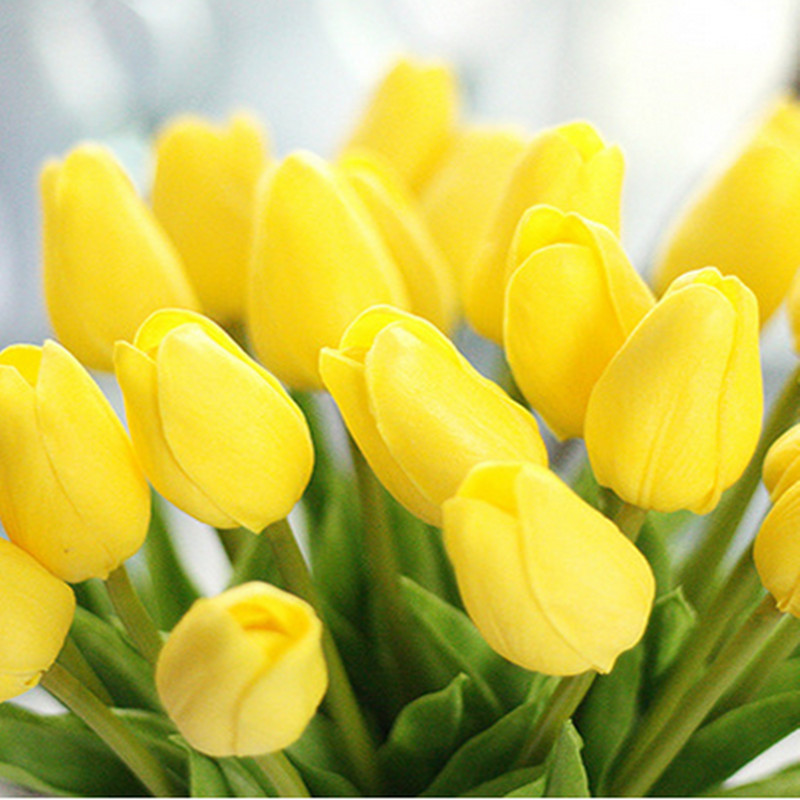 1PC PU Mini Tulips Artificial Flowers For Home And Wedding Decoration Flowers 14