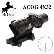 Optic Sight 4X32 ACOG Tactical Rifscope Hunting Scope Glass Etched Reticle Fiber Red Dot Sight Collimator sight Rifle Scope tactical 4x32 rifle scope fiber optic illuminated scope for 20mm rail hunting shooting military red green dot reticle sight