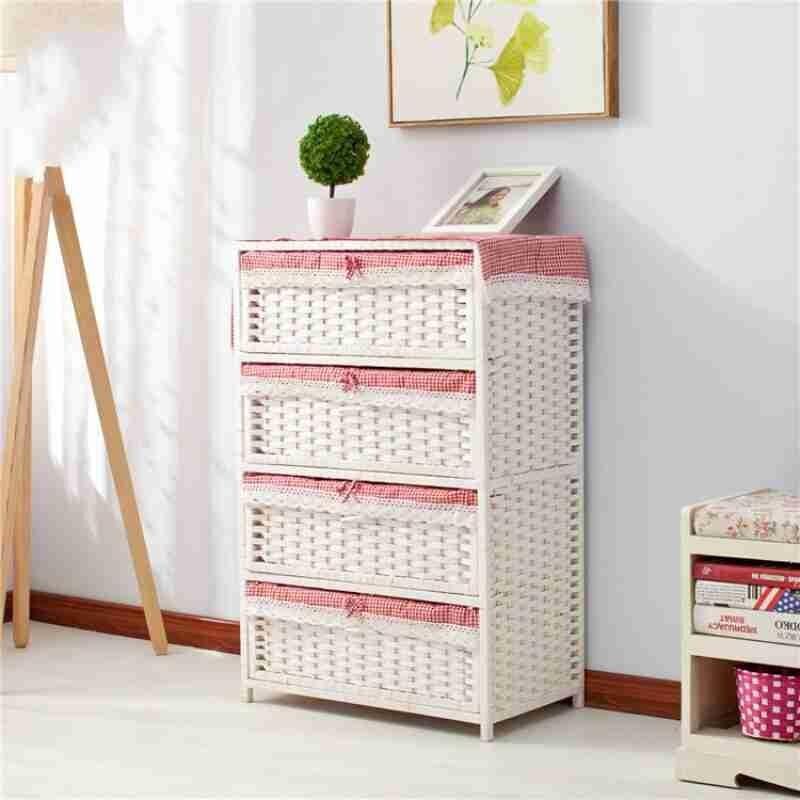 Соломенный тканый шкаф для хранения ящиков, прикроватный столик для сада, модная простая коробка для хранения детской одежды - 4