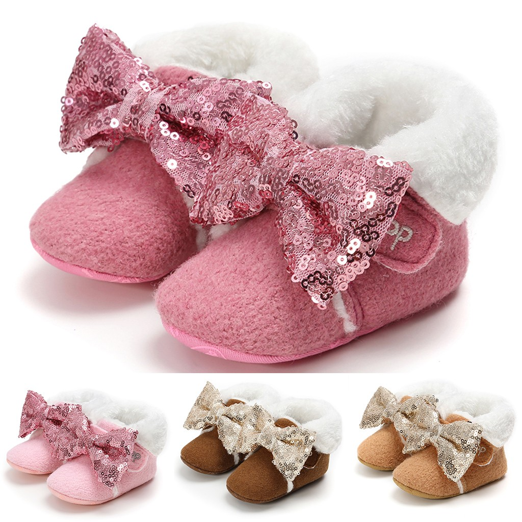 2020 Toddler Kid Baby Girls Cute Sequins Pink Bling Bowknot Winter Warm Snow Boots Bootie Shoes Sapato Infantil Plus Velvet New