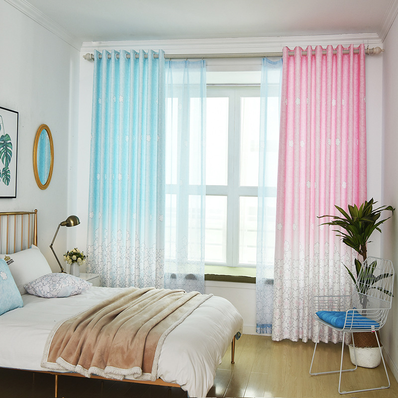Fresh Gradual Clouds Bright Pink Blue Girl Semi-shade Curtains For Living Dining Room Bedroom.