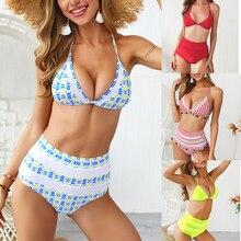 Boho Swimwear Bikini-Set Bathing-Suit Biquinis Push-Up High-Waist Women Brazilian Sexcer