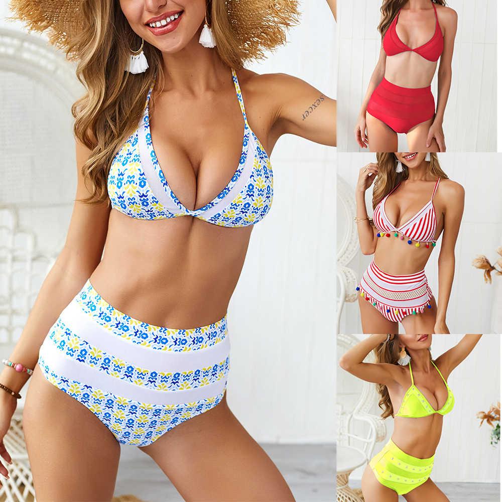 Sexcer yüksek bel bikini seti Boho mayo kadınlar püsküller Halter mayo kadın Push Up mayo brezilyalı Biquinis Feminino
