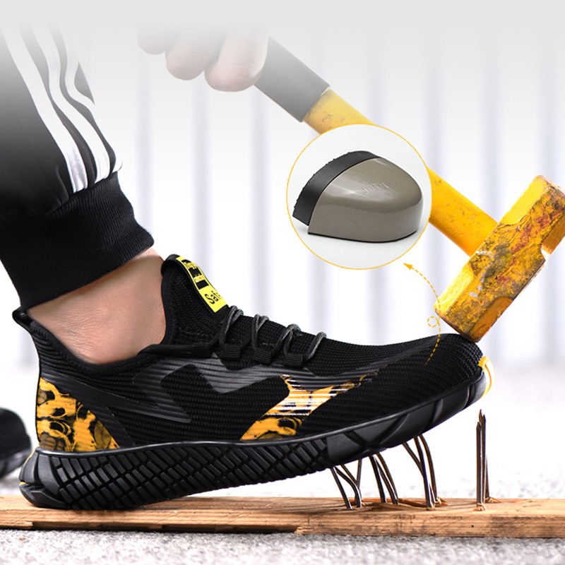 2020 Men's Work Safety Shoes Breathable Outdoor Men Shoes Steel Toe Cap Anti-smashing Puncture Proof Construction Sneakers Boots