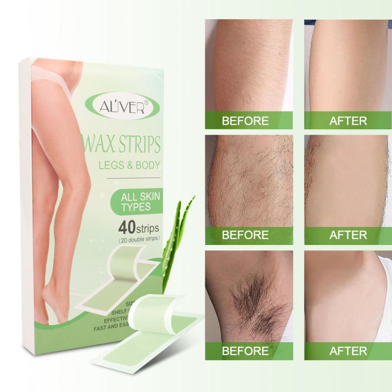 ALIVER 40 stücke Professional Hair Entfernung Kalt Wachs Streifen Papier Für Bein Körper Enthaarung Patch Haar Entfernung Hohe Qualität Fibre papier