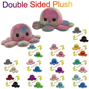 Cute Emotion Octopus Plush Toys Kids Gift Children Cute Double-Sided Flip Octopu Doll Soft Reversible Plush Toys Multicolor 1PC