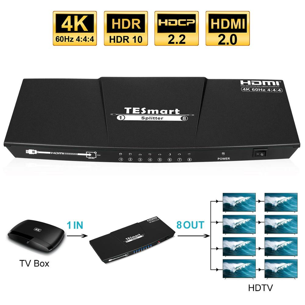 Ultra HD 4K HDMI Splitter 1x8 Splitter HDMI 1In 8 Out Splitter 8 Ports Support S/PDIF Audio 4K@60Hz HDMI Switch Splitter 8 Ports