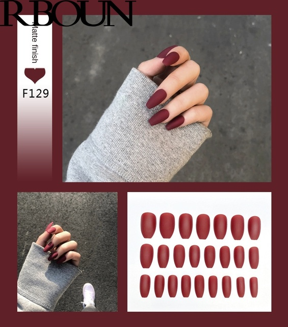 Nail Art Fake Nails Stiletto Tips Clear Press on Long False with Glue Coffin Stick Display Full Cover Artificial Designs Matte 3