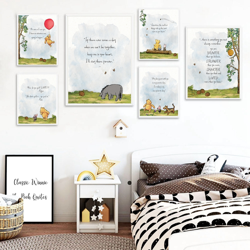 Classic Winnie The Pooh Quotes Posters & Prints Cartoon Wall Art Canvas Painting Picture Birthday Gift Baby Shower Nursery Decor