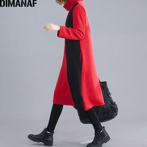 Image 4 - DIMANAF 女性のドレスヴィンテージ長袖冬秋厚い綿の女性ゆるいカジュアルな女性の Vestidos タートルネックパッチワークドレス