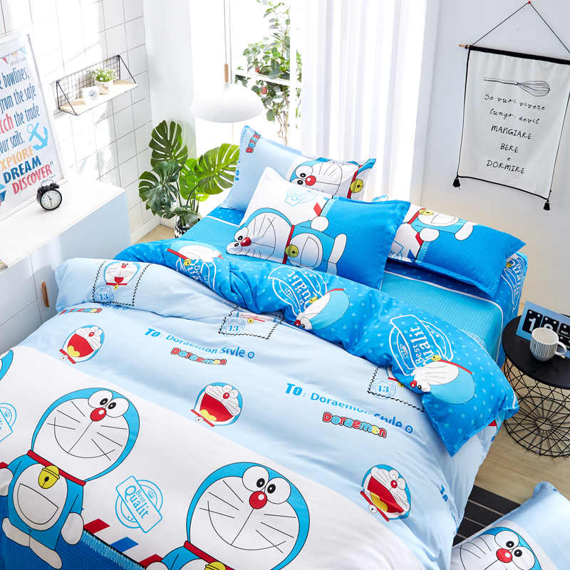 Nhật Bản Nhân Vật Hoạt Hình Doraemon Bộ Chăn Ga Gối Cotton Polyester Vải Trẻ Em Chăn Lót 3/4 Túi Đựng Chăn Màn Tấm Phẳng áo Gối Chần Gòn