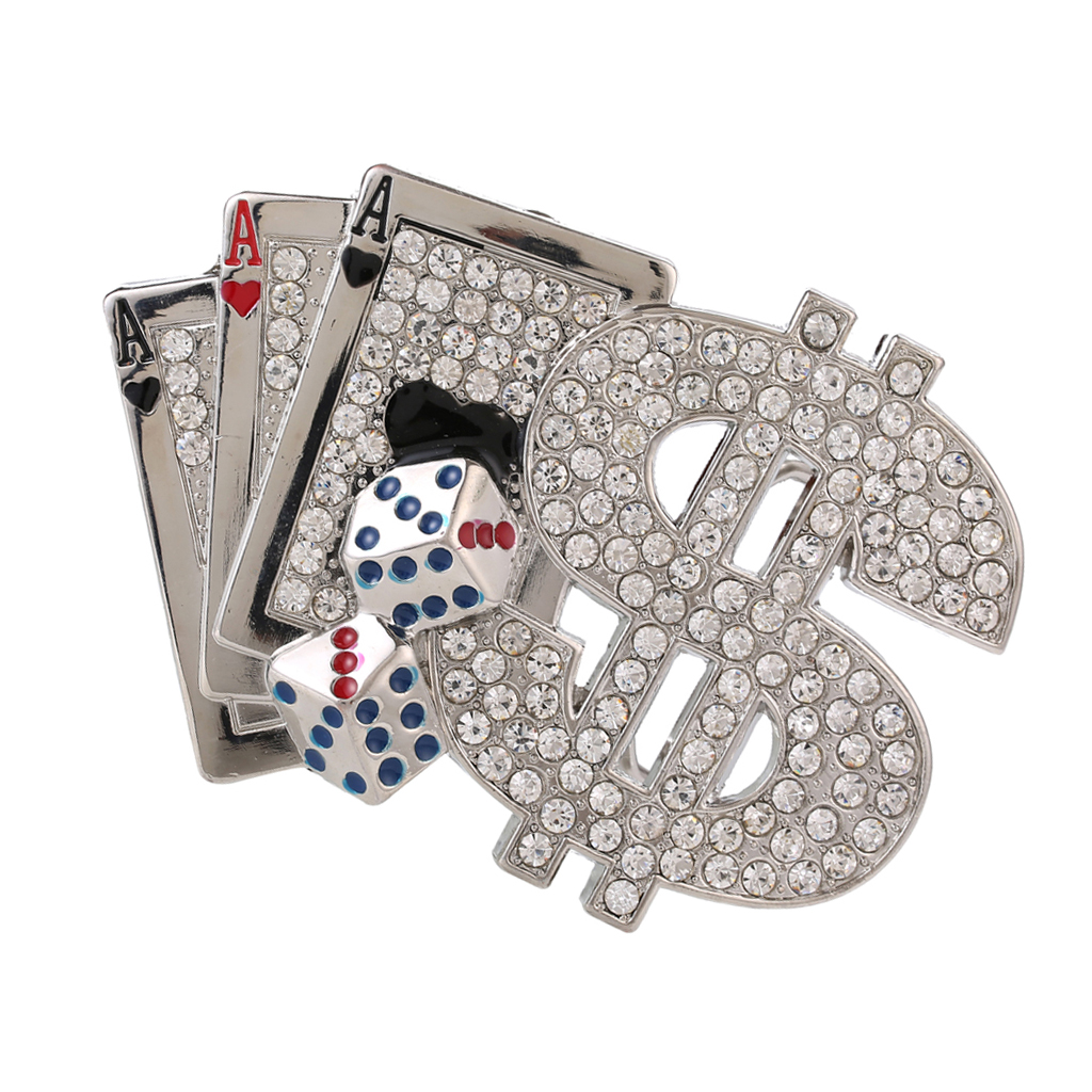 Men Bling Diamante Poker Carved Dollar Retro Belt Buckle American Cowboys Buckle