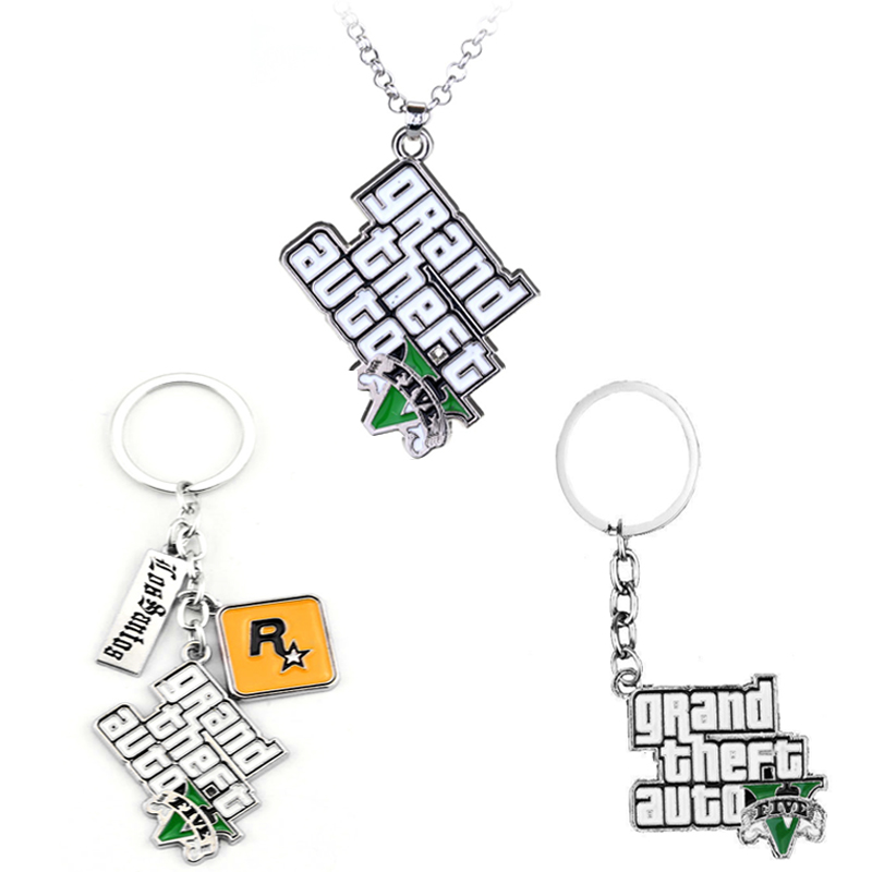 PS4 GTA 5 Game <font><b>Cs</b></font> <font><b>keychain</b></font> Grand Theft Auto 5 Alloy Pendant Gift For Fans Rock Star key chain Holder Movie Jewelry Accessories image