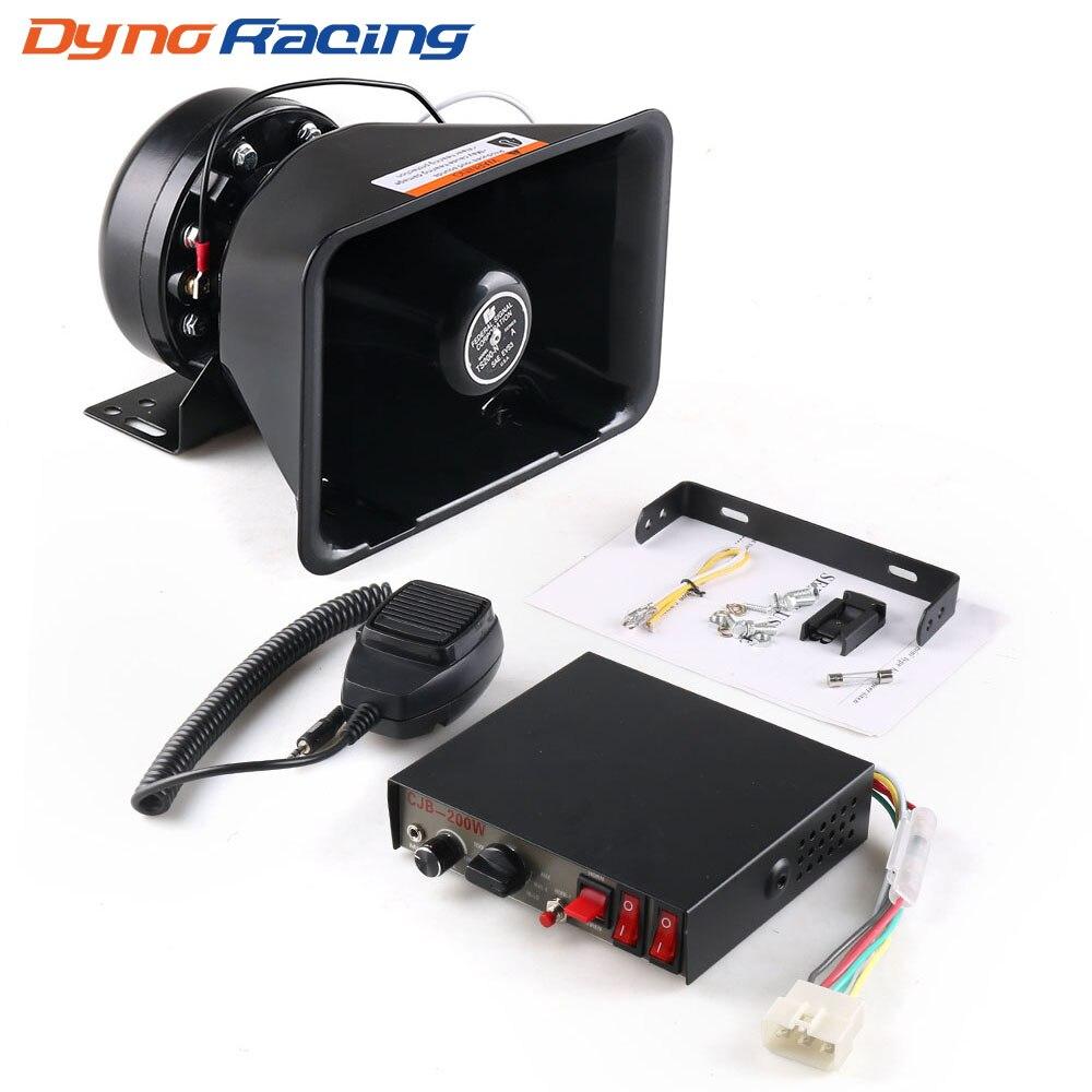 12V 200W 9 Tones Loud Car Warning Alarm Police Siren Horn Speaker PA with MIC System